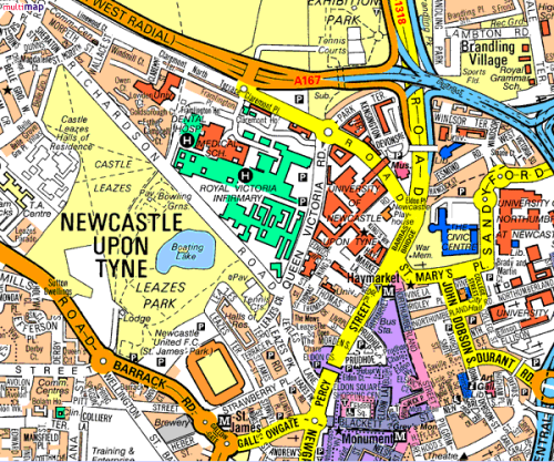 Image of: Map of Newcastle upon Tyne